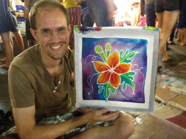 paint your own batik at Krabi Walking Street night market