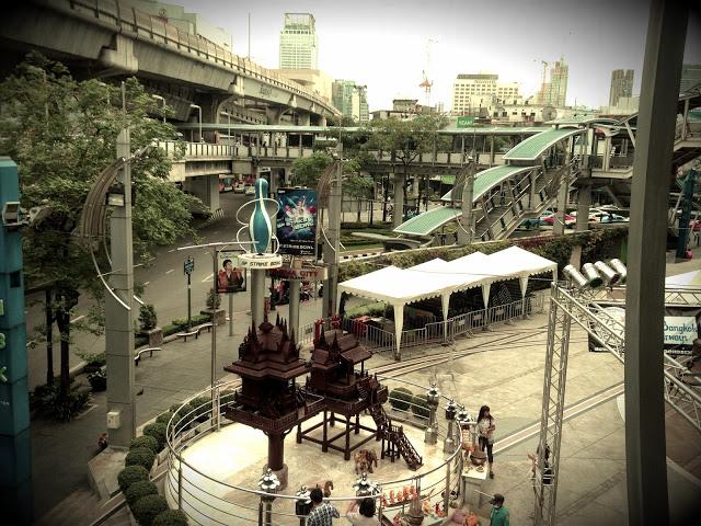 Bangkok Thailand - shrine outside MBK Mall, near BTS National Stadium
