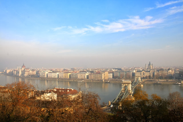 Budapest, Hungary - overlooking the Danube River from Castle Hill