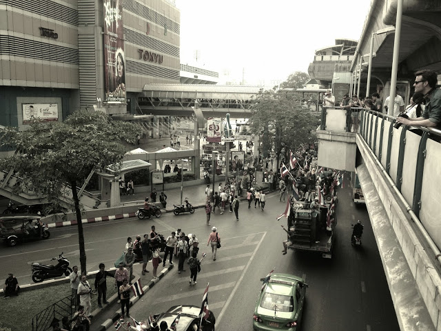 Bangkok Thailand - political protests outside MBK mall, Siam Square