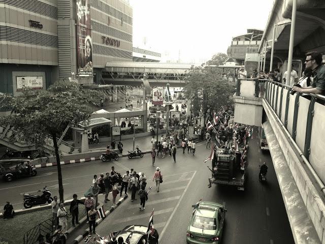 Bangkok Thailand - political protests outside MBK mall, Siam Square