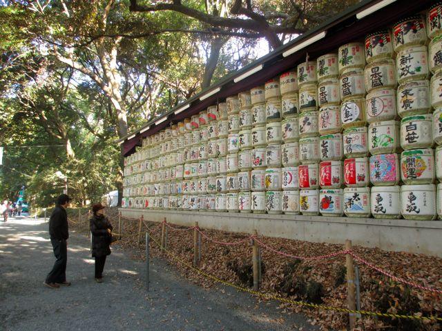 Tokyo, Japan - Meiji Shrine - sake offerings