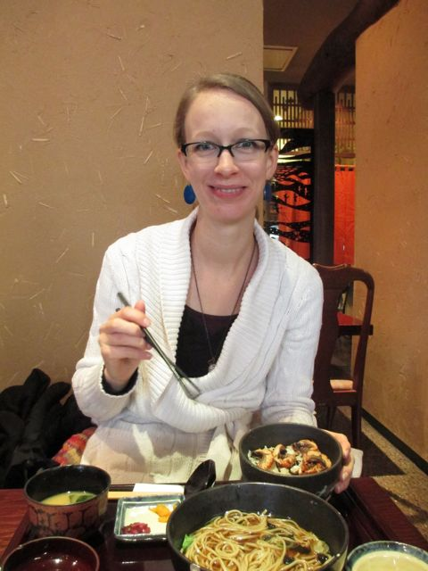 Eating udon noodles in Matsumoto, Japan
