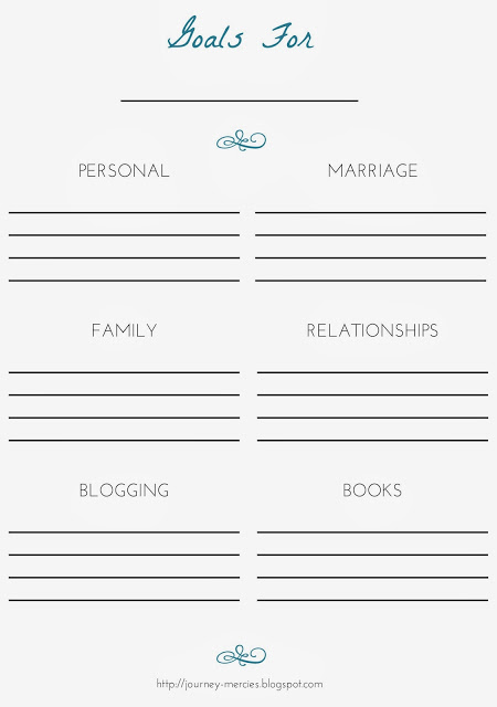 Blank free monthly goals printable for personal, family, relationships, blogging, and books