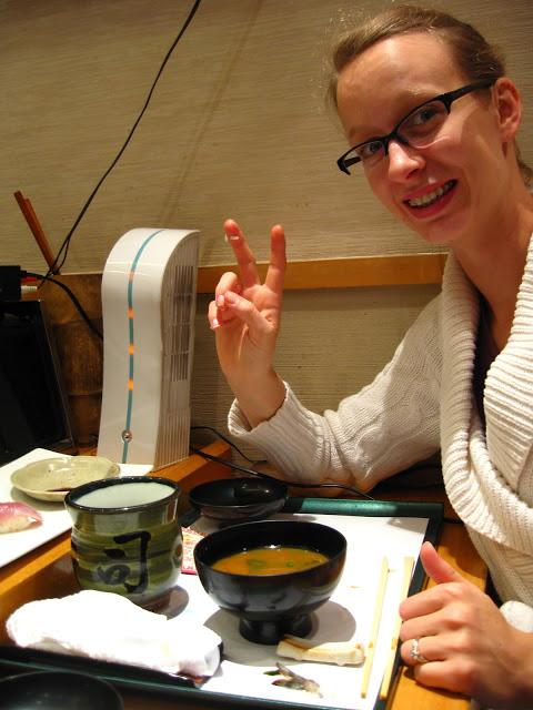 Eating sushi in Tokyo, Japan