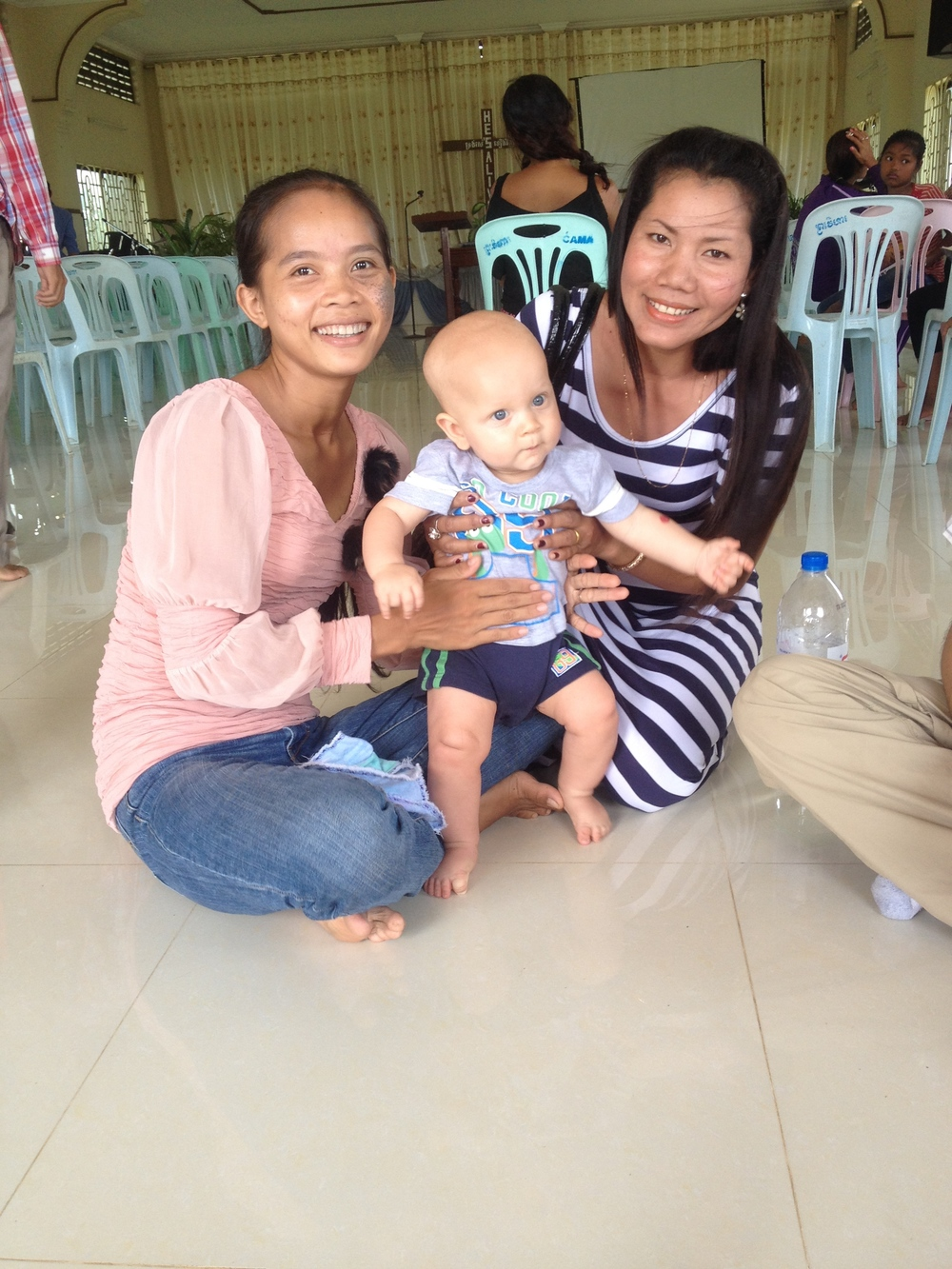 Declan with some Cambodian friends during our last Sunday at church in Poipet
