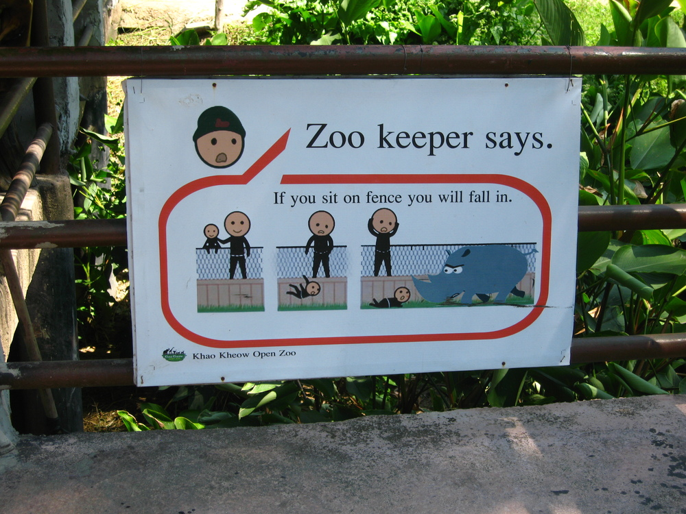 A funny sign from a zoo in Thailand