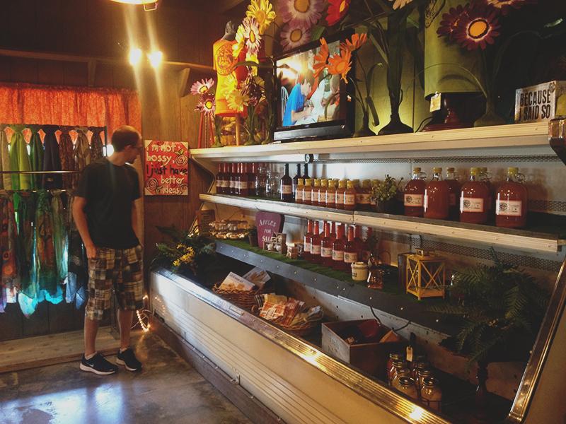 andrew choosing his homemade goods