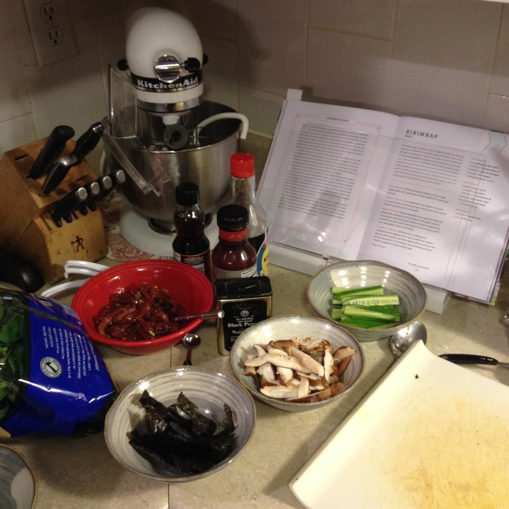 My mise-en-place (food prep) for making bibimbap