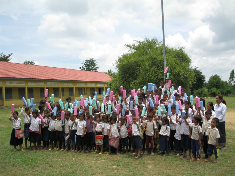 Cambodian schoolchildren during a hygiene class