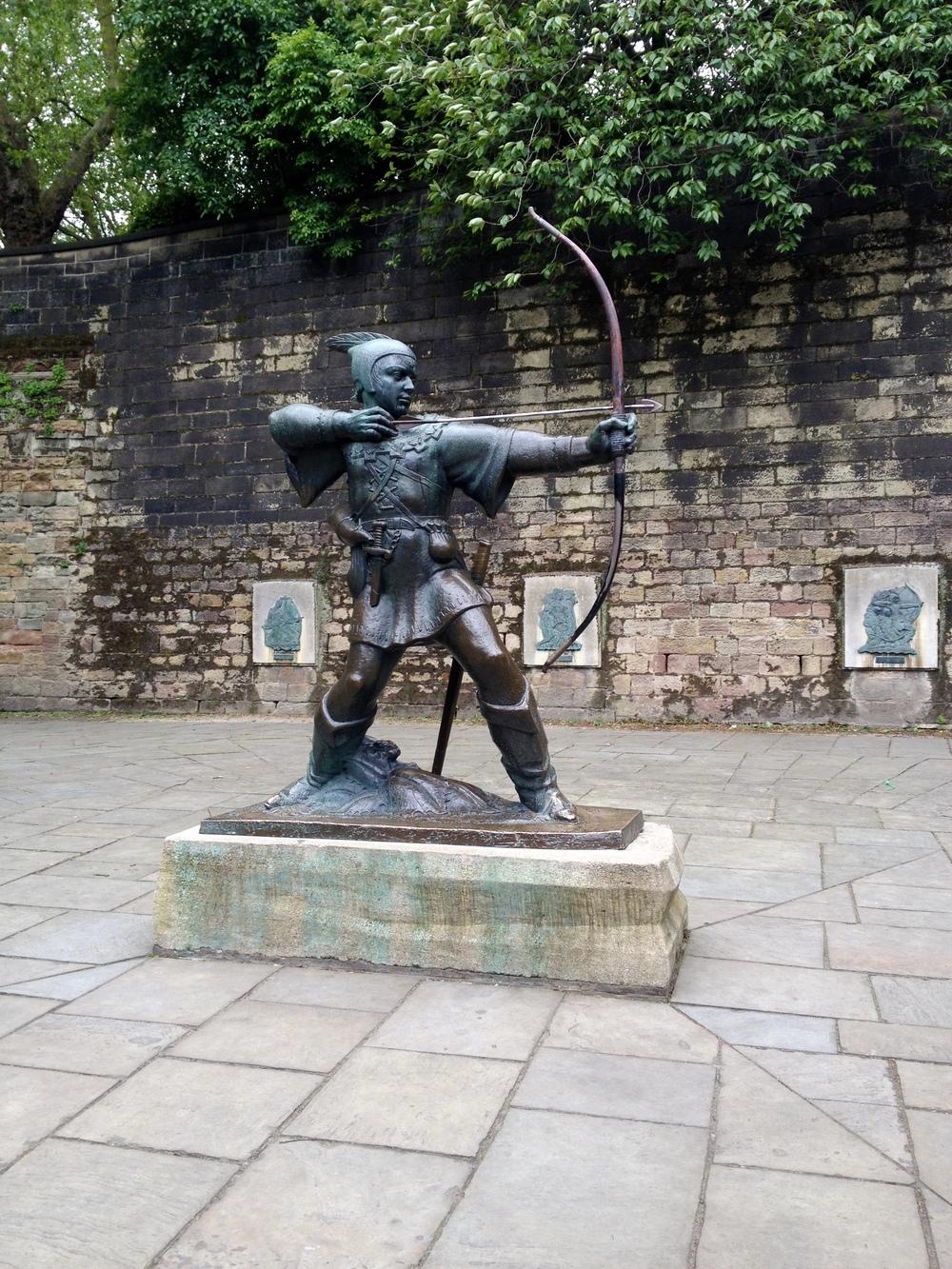 Statue of Robin Hood outside Nottingham Castle