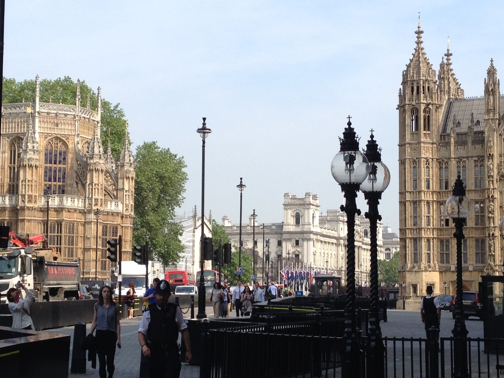 Views of Westminster Abbey (on the left) and the Houses of Parliament (on the right)