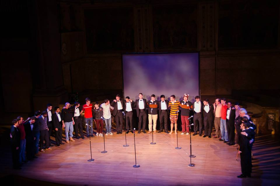 Still, 75 years later, every member of the Nassoons learns exactly the same arrangement of Perfidia that the founders sang in their first ever performance in 1941. Here's a picture of current members and alumni singing it together at the end of Yale Jam 2014.
