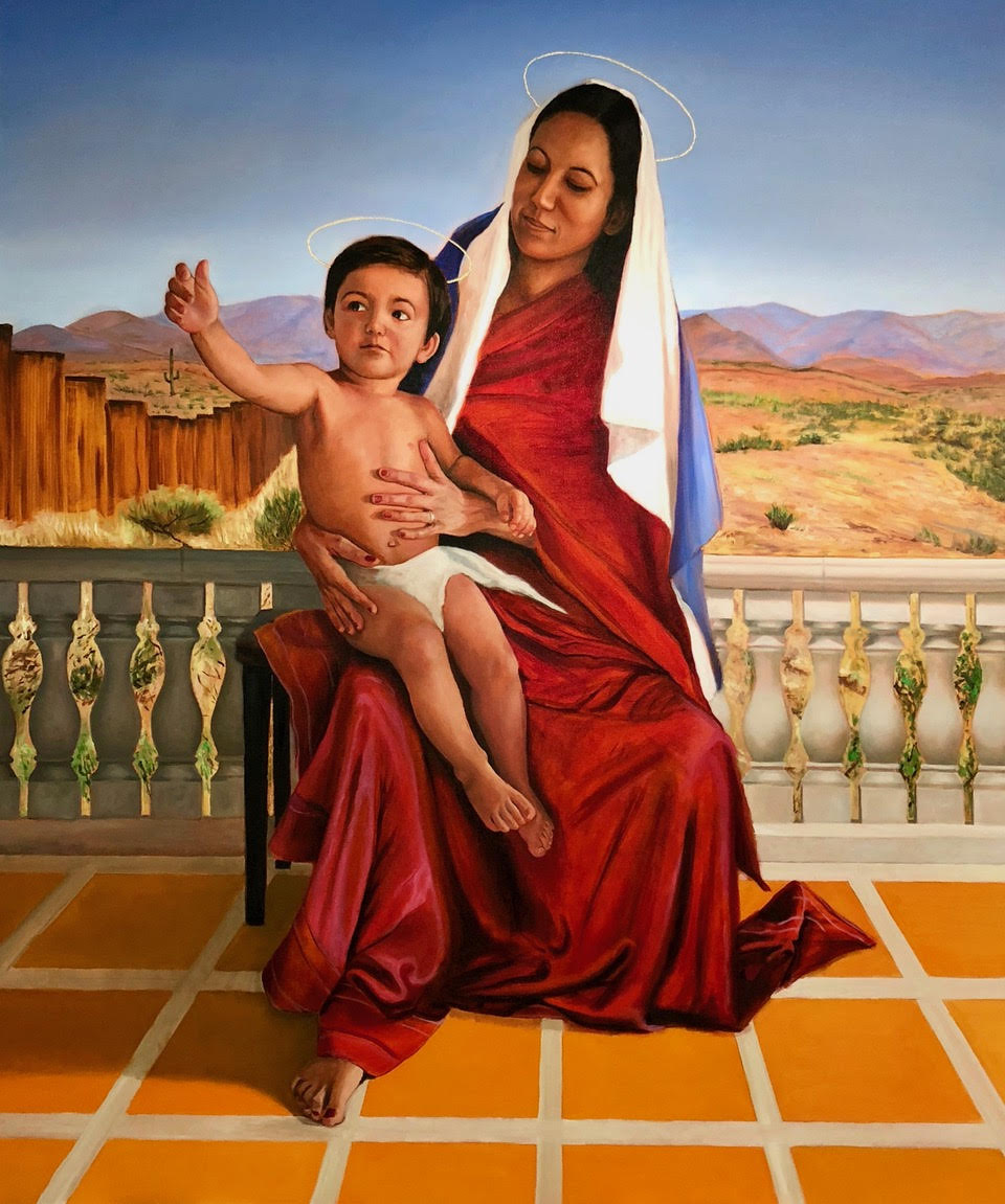 Madonna and Child at the Border 5' x 6' by John Britton