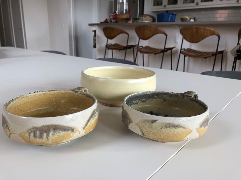 Low Bowls and Single Yellow Bowl