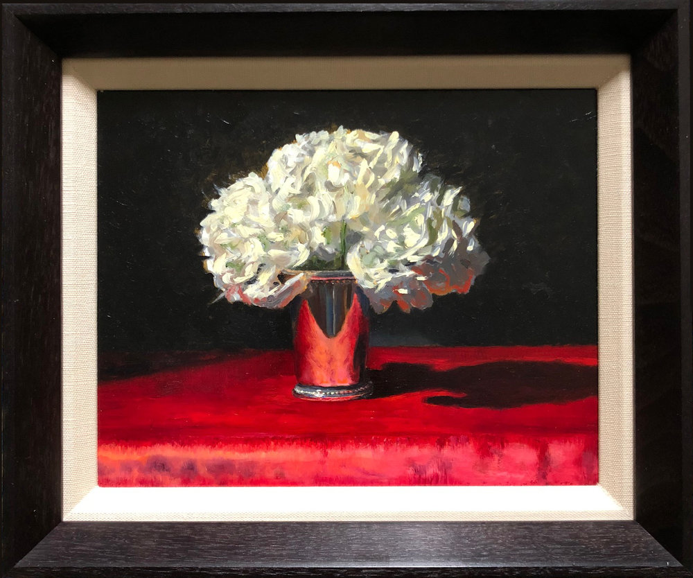 Hydrangea in Silver Cup by John Britton