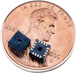 Microelectromechanical systems (MEMS) Sensor is the technology of microscopic devices, particularly those with moving parts.  Link: www.wikipedia.com
