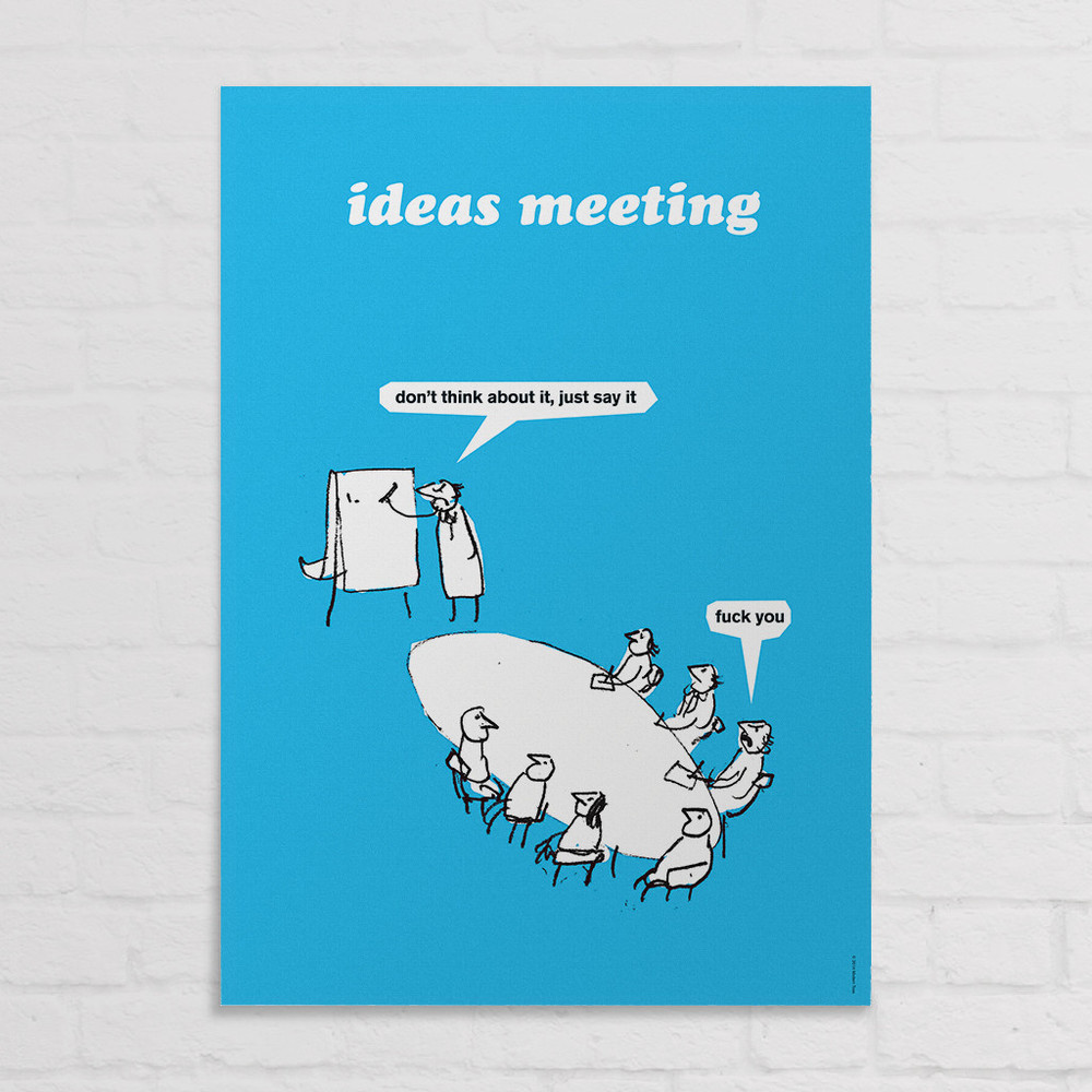 The Ideas Meeting cartoon is also available on cards, fridge magnets, coasters and travel wallets.