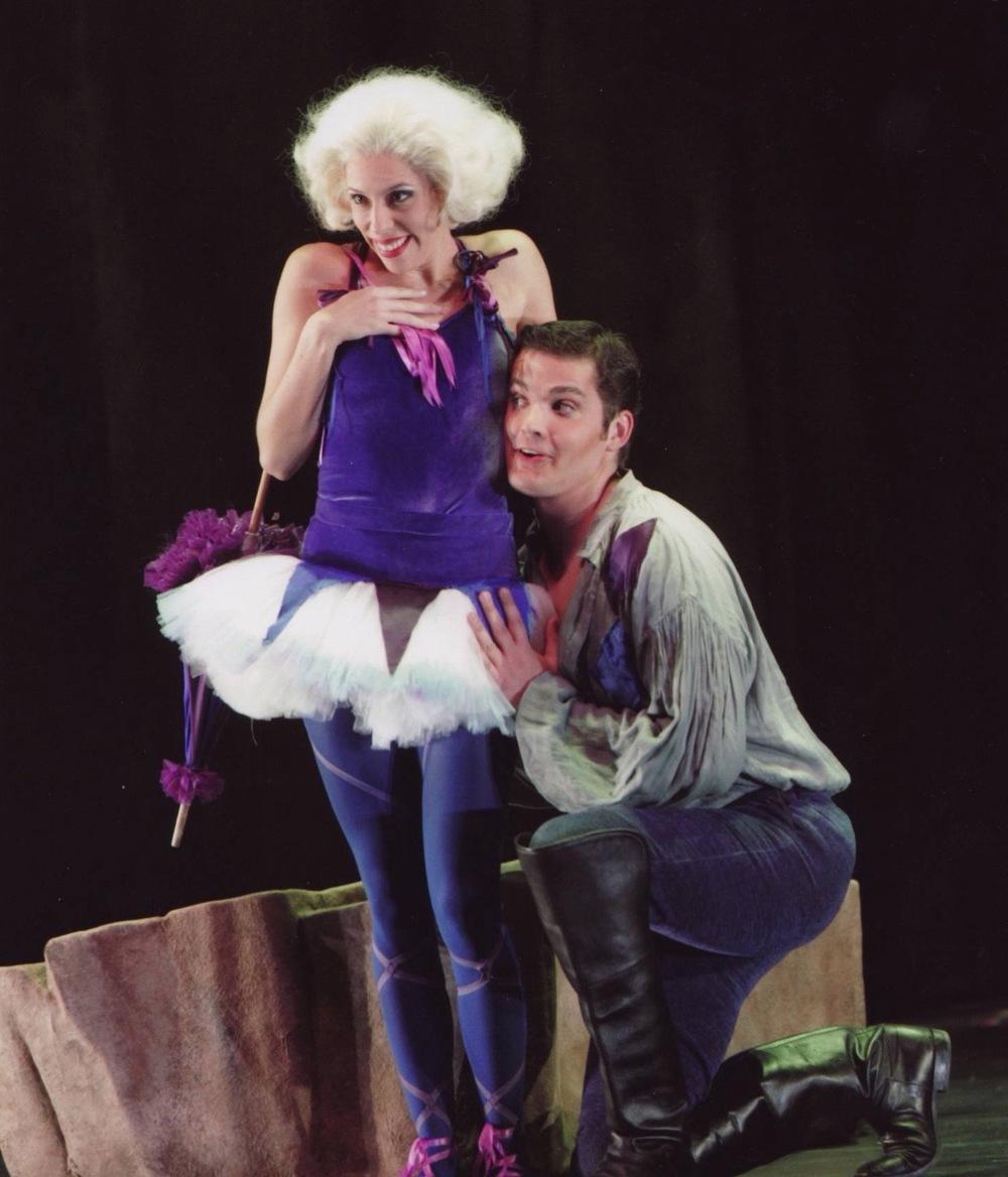 With Audrey Luna in scene from <i>Ariadne auf Naxos</i>, Santa Fe Opera; photo by Ken Howard
