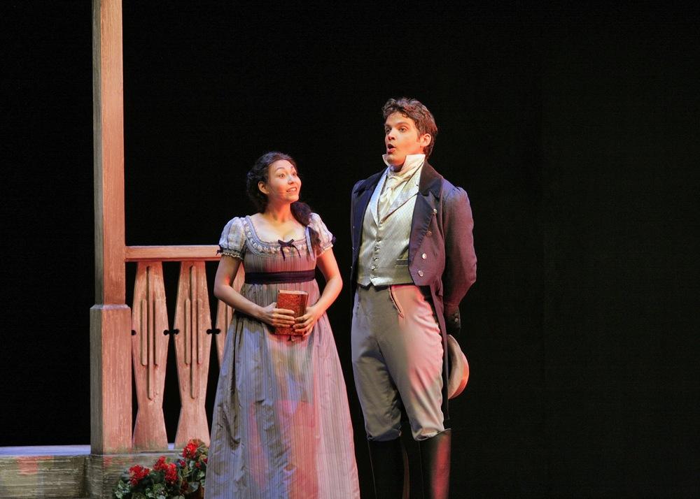 With Laura Choi Stuart in scene from <i>Eugene Onegin</i>, Santa Fe Opera; photo by Ken Howard