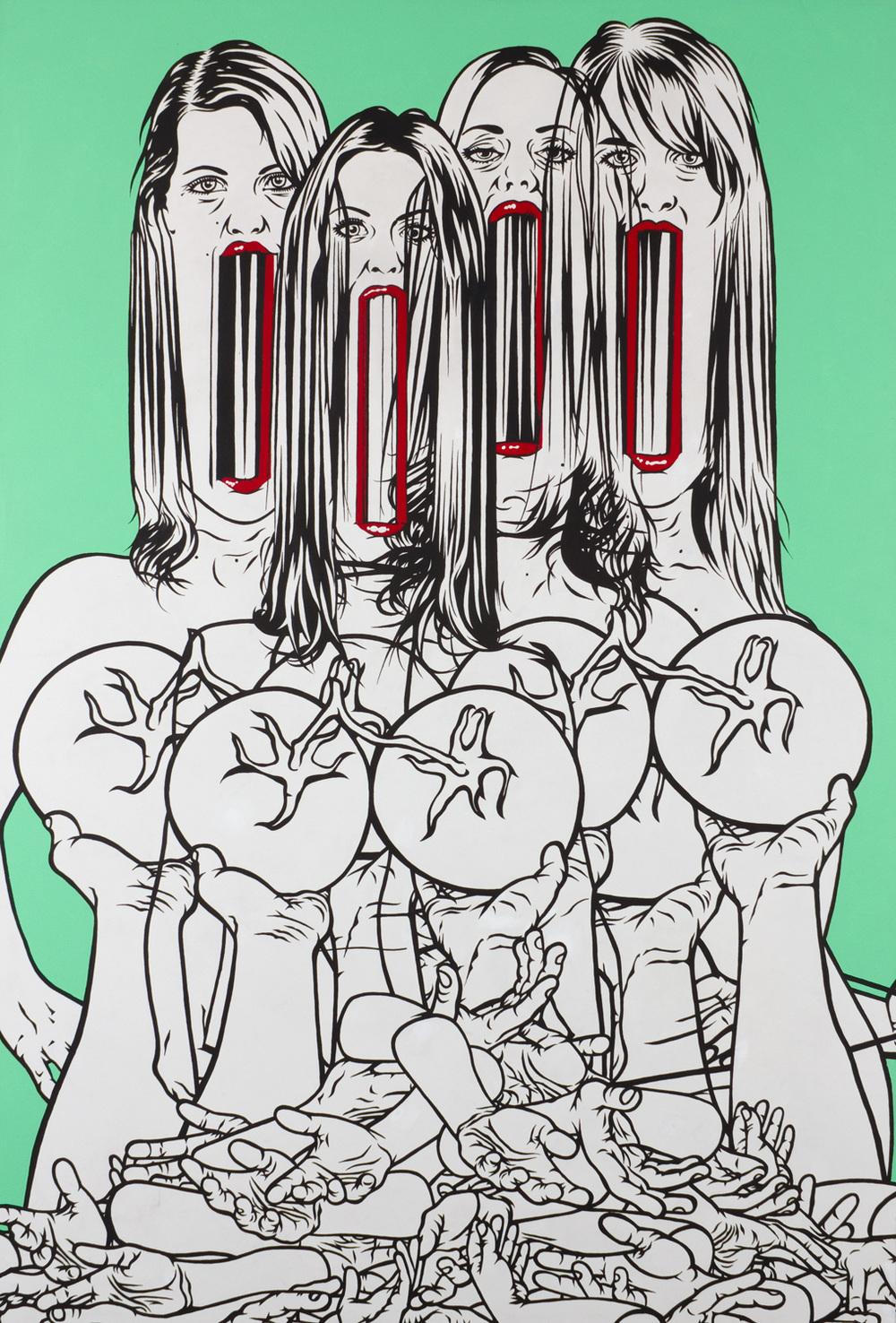 Tim Andrew.  Untitled. (4 girls). 1.0 x 1.5m Acrylic on canvas. 2010