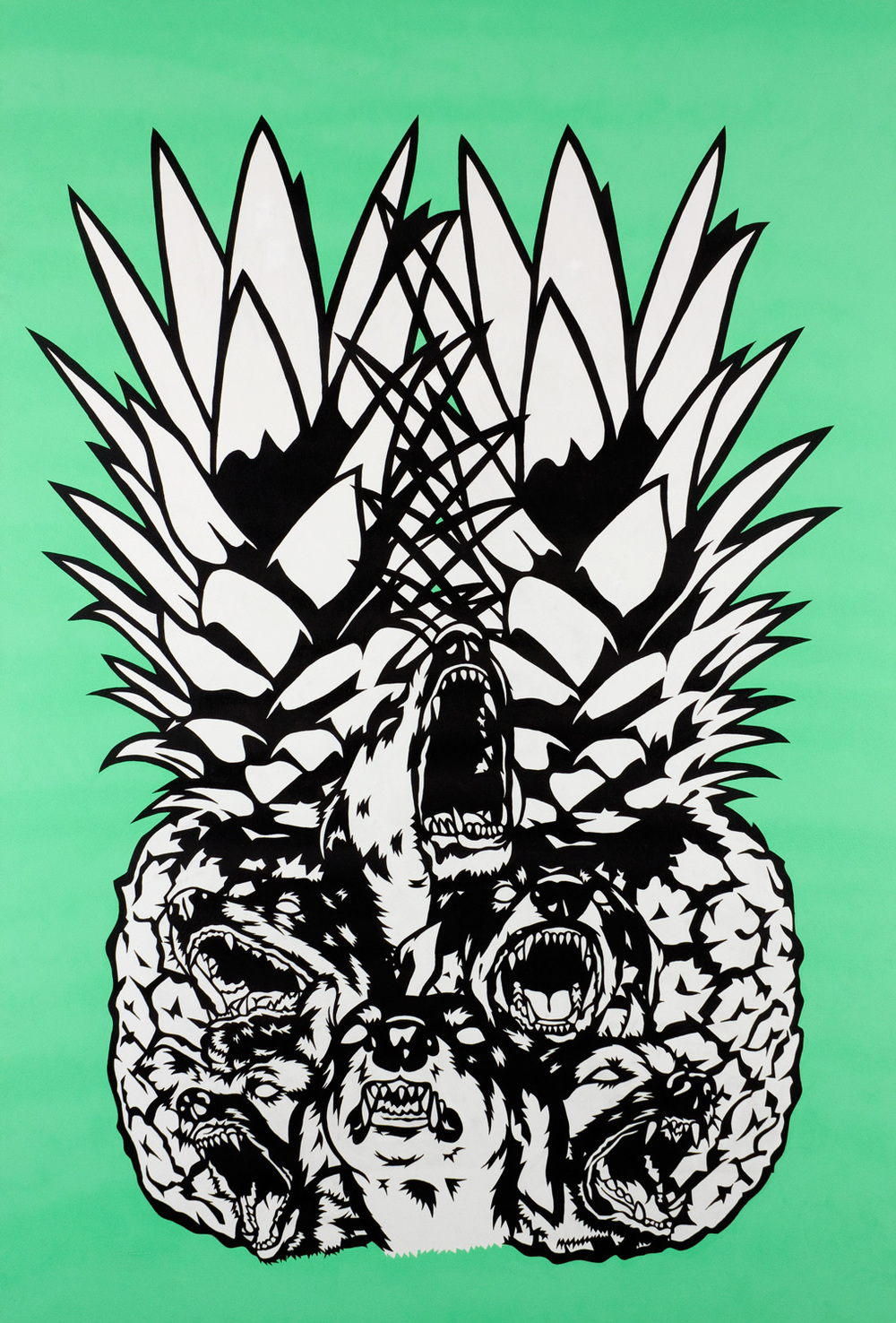 Tim Andrew.  Pineapple Dogs.  1.0 x 1.5m Acrylic on canvas. 2010