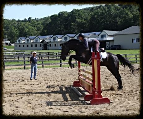 Sofia and Blackie in a jumping lesson