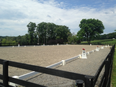 Regulation size Dressage ring with sand/rubber mix footing