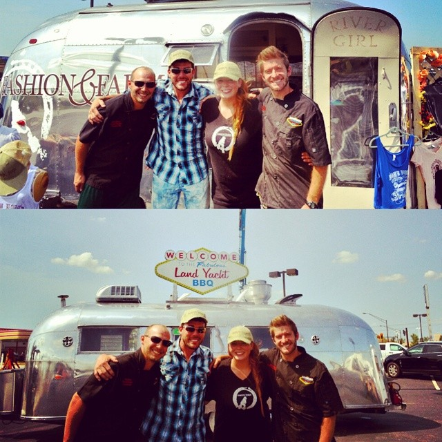 The Land Yacht BBQ with Jennifer Rose, Editor-in-Chief of @FashionandFarm and Dave Stercula of #PrimalInstinct on the @OutdoorChannelTV Thanks for visiting Haydocy! ☺ #Airstream #AirstreamFoodTruck #Fashion #Farm #AsSeenInColumbus