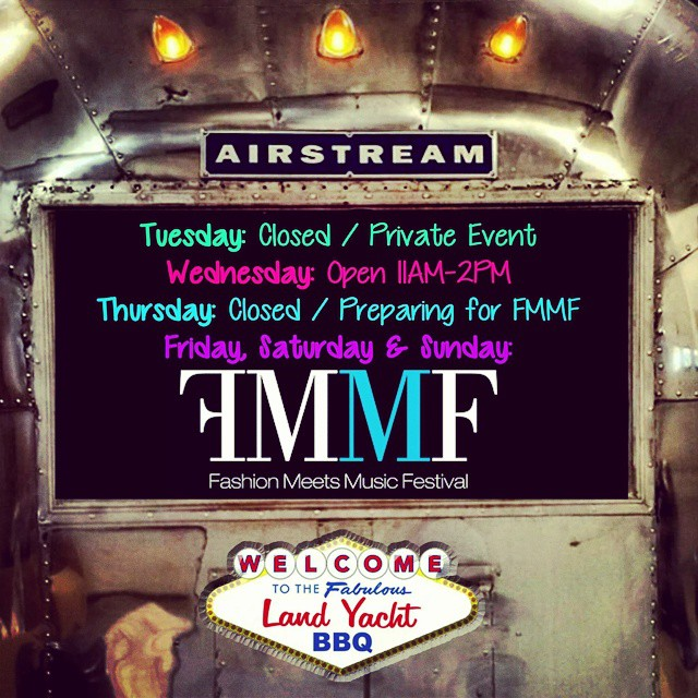 In preparation for the @fmmfestival we will be open during special hours this week. Be sure to get your tickets while you still can at www.fmmf.us . You won't want to miss out on the Nation's largest & first collaborative fusion festival to incorporate #music and #fashion happening right here in #Columbus #Ohio!!! Not to mention, the Land Yacht BBQ will be serving up the best #bbq you've ever had! Don't miss out! - #AsSeenInColumbus #AirstreamFoodTruck #Airstream #LiveRiveted