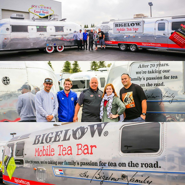 The Land Yacht got to meet another #renovated #Airstream today. A 1977 Airstream International that's now the Bigelow Mobile #TeaBar. If you're lucky you may even see Chris & Candace driving down the road on the way to their next stop! Follow them on Twitter @BigTeaBar - #BigTeaBar #AsSeenInColumbus #SoColumbus #LiveRiveted #BBQ #Tea