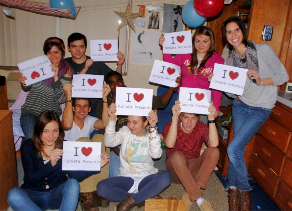 Juniata students showing Juniata Presents <3.