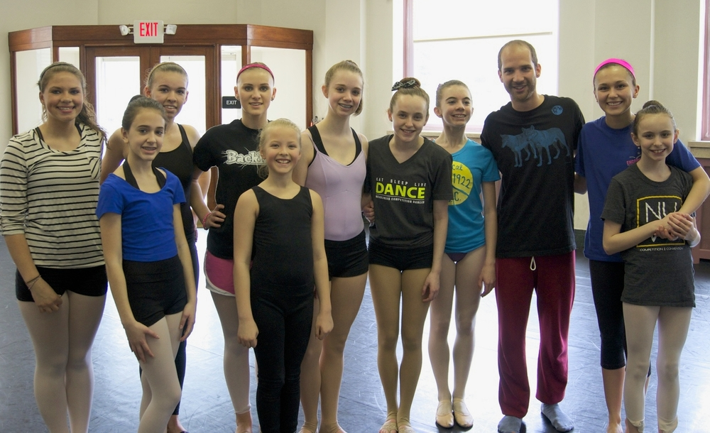 Tal Adler-Arieli with members of the Huntingdon Dance Academy.