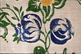 A close-up of the design. Pitkin was one of the few in the area who could afford such an expensive fabric.