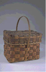 "This photograph above is of an ash-splint basket made between 1820-1840, painted with ""spanish brown""; similar in style to baskets made and sold by Native Americans in the 1880s-90s in Massachusetts and other New England tourist destinations."