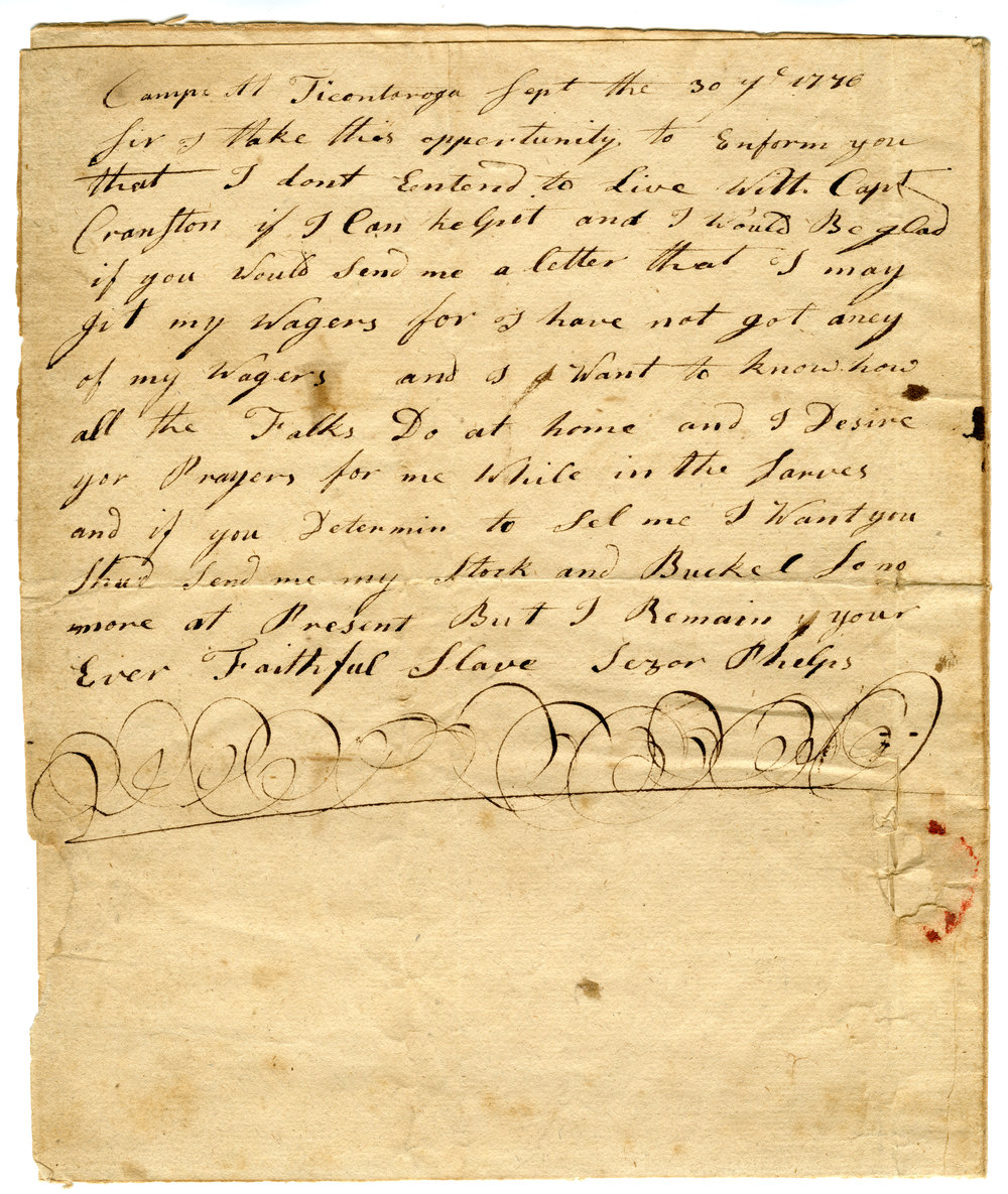 Caesar's letter to Charles Phelps, 1776