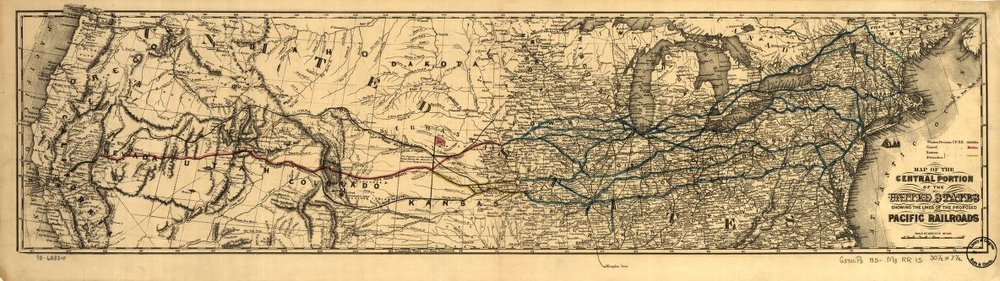 ( Click to view full screen) Map of the central portion of the United States showing the lines of the proposed Pacific railroads,  via the Library of Congress .