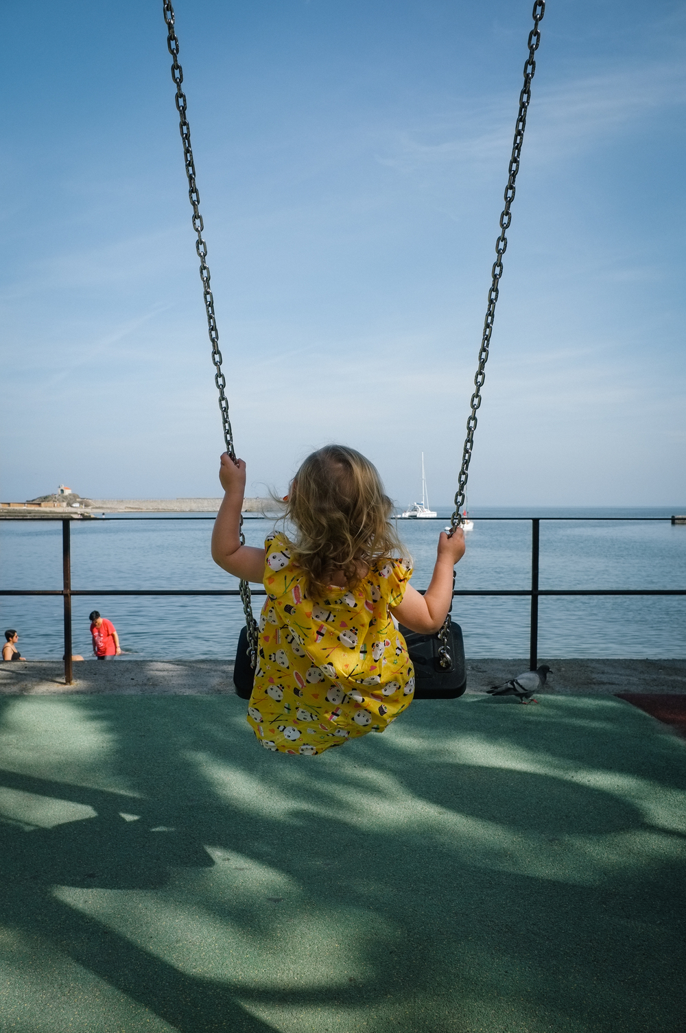 "Riding the ""big girl"" swing for the first time. Collioure"