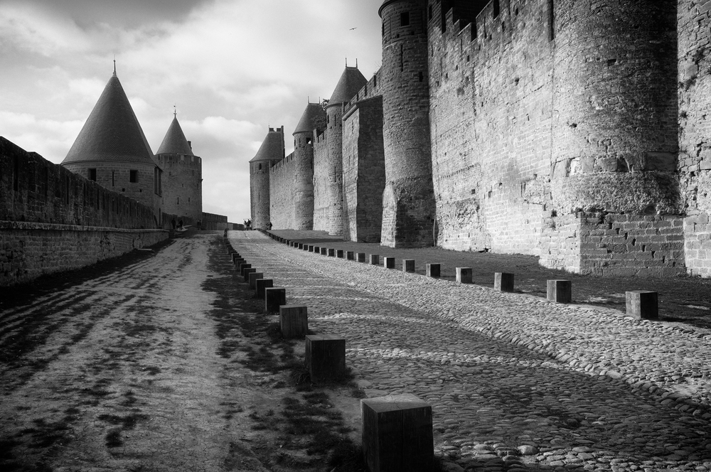 Between the 2 outer walls of the Citadel. Carcassonne