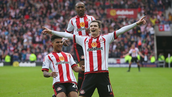 Adam Johnson, celebrando el 1-0 ante la afición del Stadium of Light | Fotografía: Sunderland AFC