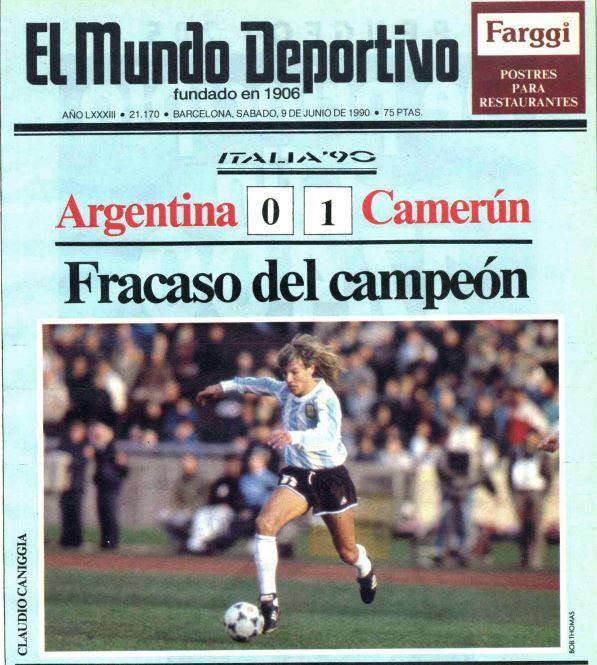 Portada de 'El Mundo Deportivo' del 9 de junio de 1990