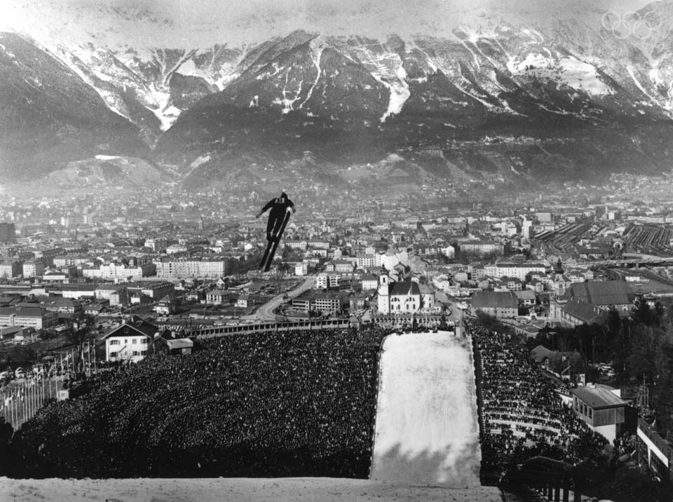 Innsbruck Austria, 1964. Courtesy of  Allsport Hulton/Archive . During these Olympics,   there was no snow in the city of Innsbruck. The snow on the skiing piste was brought down from the Alps.