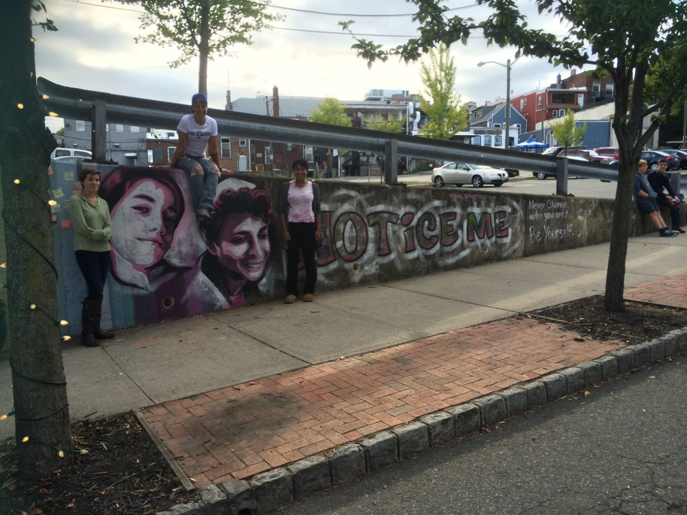 Photograph by Johanna Foster of Montclair Girl Noticed mural--both subjects and artist