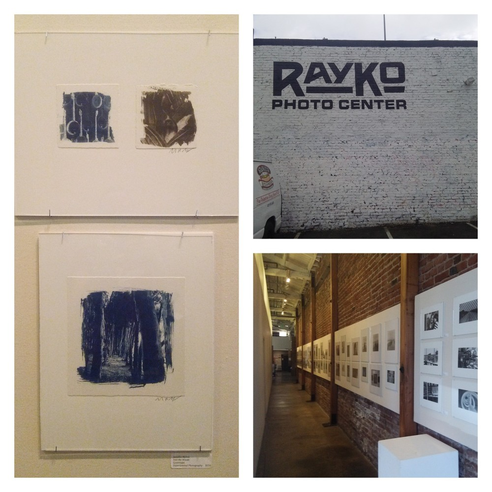 Americana  (2015, cyanotype and Van Dyke brown) on the top left;  Into the Woods  (2015, cyanotype) on the bottom left
