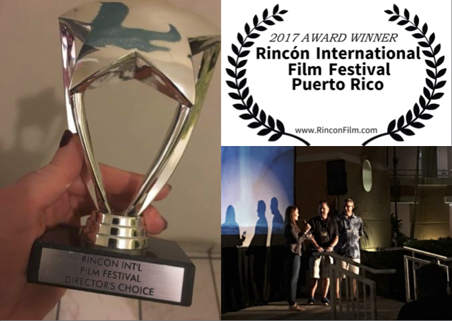Co-producer Katherine Chivers accepting the award on behalf of Berning Love, for overall best documentary short (choice of both directors and audience) at the Rincon Film Festival.