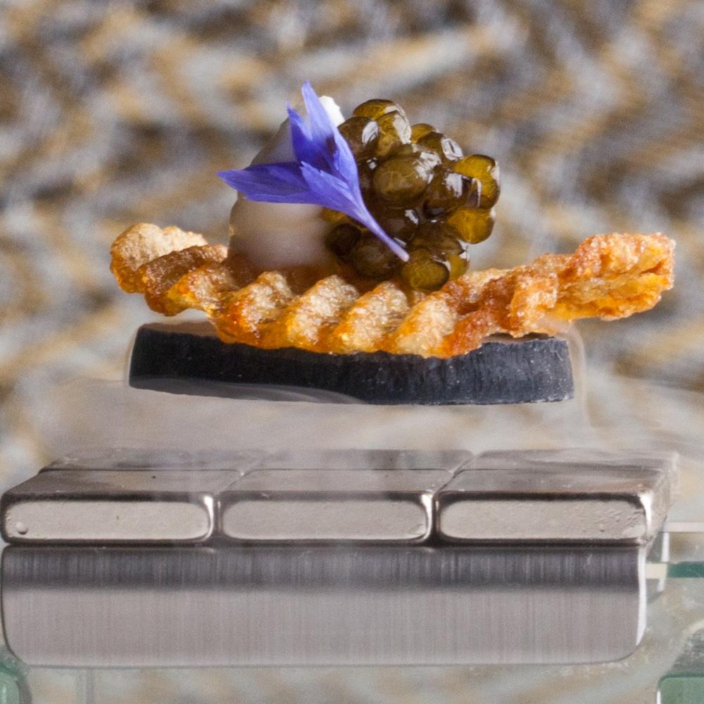 Levitation- golden potato crisp, creme fraiche & reserve kaluga caviar