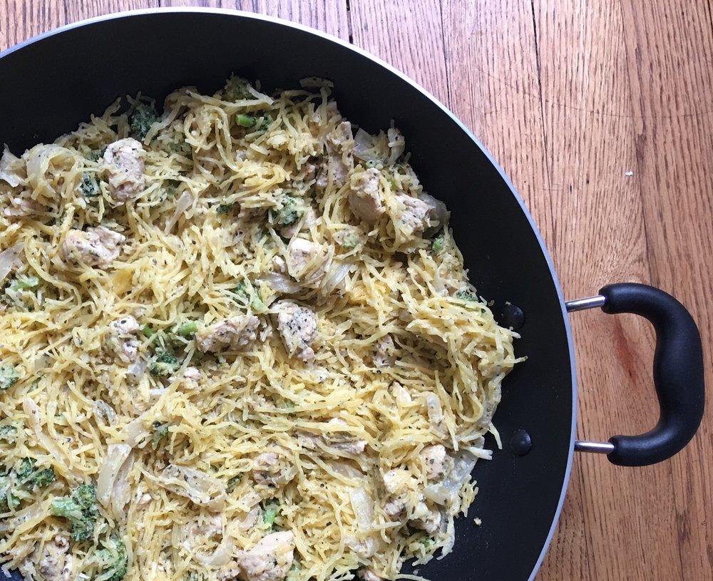 Skillet Spaghetti Squash Broccoli & Chicken Alfredo