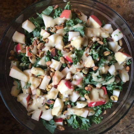 Pink Lady Kale Salad with Simple Lemon Vinaigrette