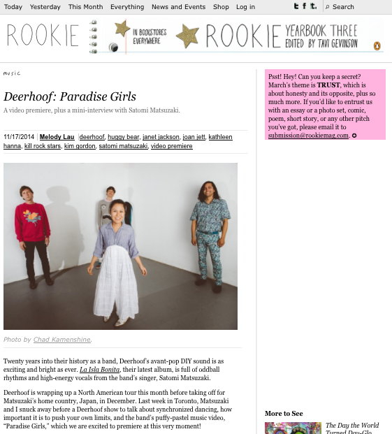 Rookie Magazine Deerhoof Music Video