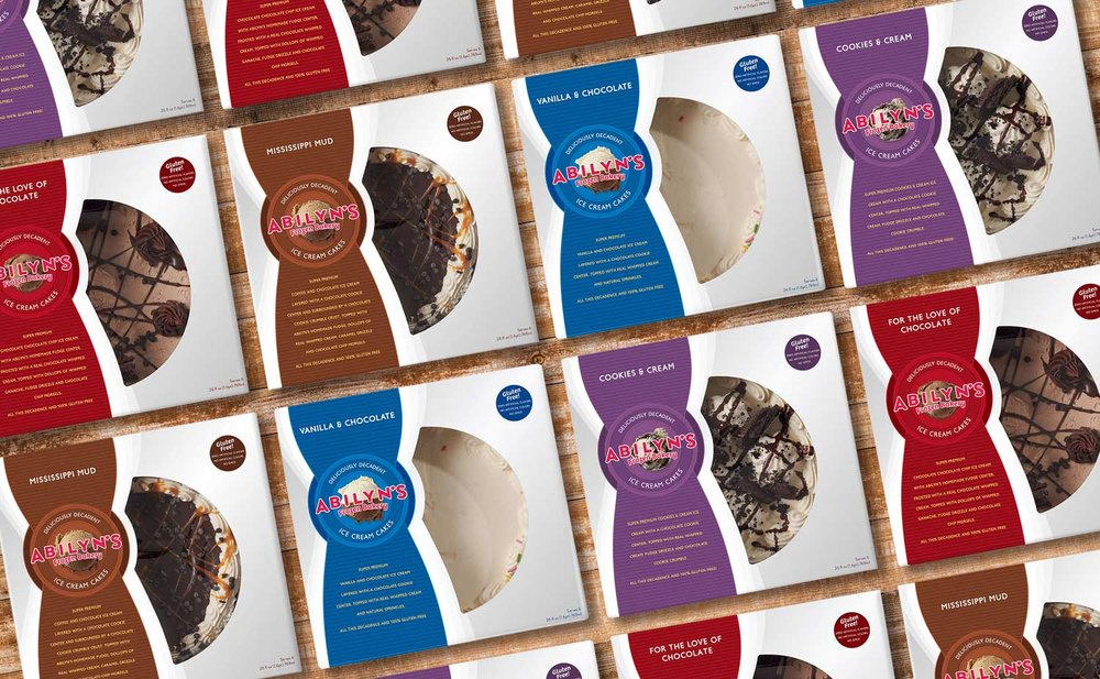 The package design system for Abilyn's line of ice cream cakes (Mississippi mud is our favorite flavor).